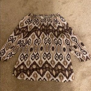 Tan and Brown Off The Shoulder 3/4 Sleeve Top